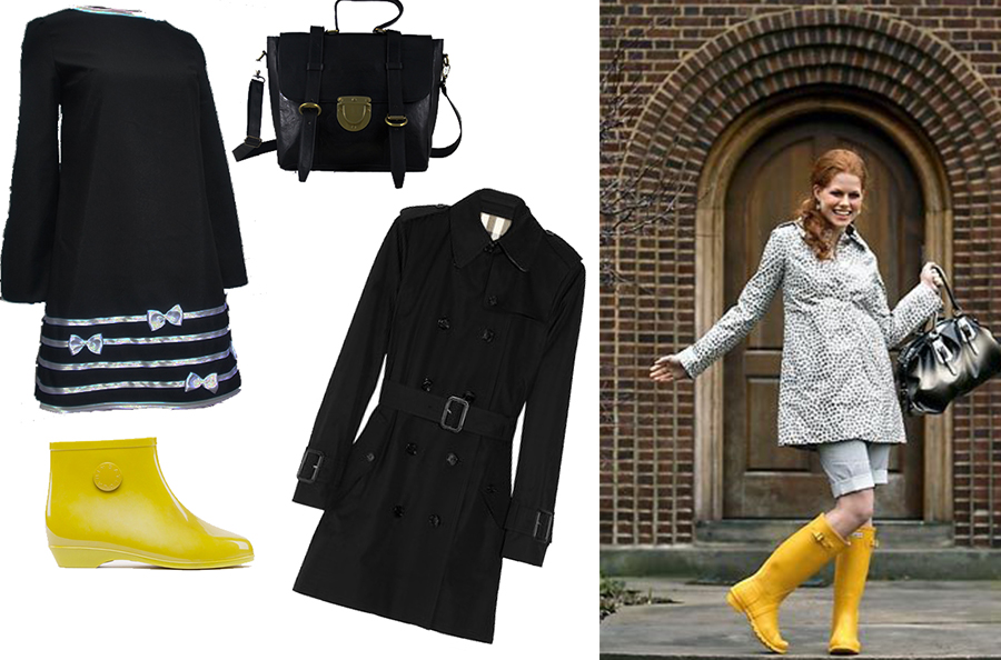 Yellow rain boots outfit
