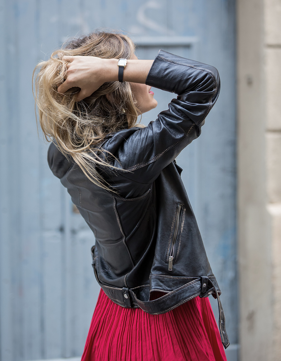 red street_style red dress wild_pny and leather jacket na_kd