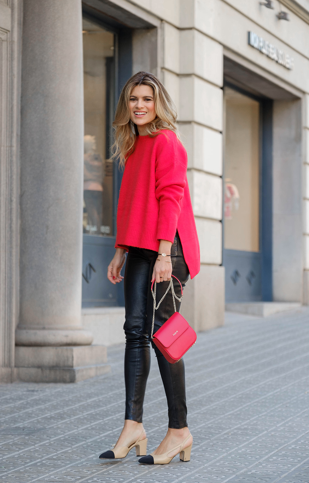 red_sweater with leather pants and chanel shoes